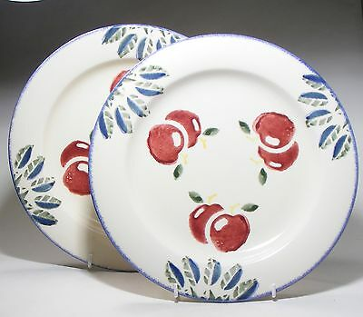 "Pair Poole Pottery Dorset Fruits 10.5"" Dinner Plates - Cherries"