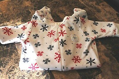 """Infant Unisex """"Cherokee Baby""""  Snowflakes  One Piece Pajamas Size 0-3 Months GUC"""