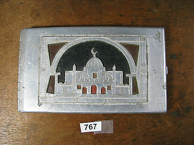 Vintage militaria WWII north africa trench art cigarette case 767