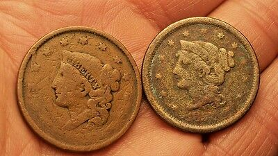 ++  Two Dateless Us Large Cents   Early Copper Penny  1837   ++