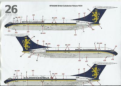 TwoSix Decals 44259 Vickers VC10 British Caledonian decals in 1:144 Scale