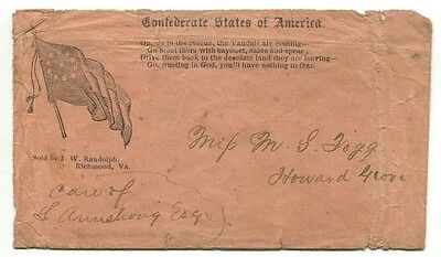 Confederate PATRIOTIC cover hand carried type F11-16 with Imprint #11 & Verse #2