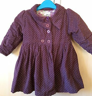 Gorgeous Purple Needle Cord Coat, 12-18 Months, Vgc
