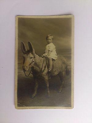 Old Social History Postcard Early Photograph Child On a Donkey Morrisons Studios