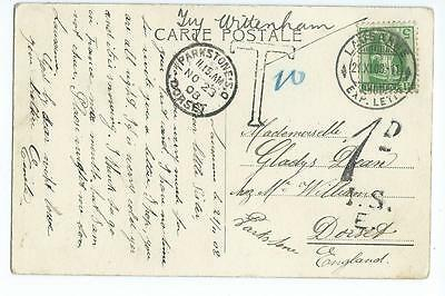 1908 underpaid PPC from Switzerland to Dorset with 1d I.S.E & Parkstone sr cds