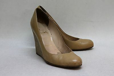 CHRISTIAN LOUBOUTIN Ladies Beige Leather Wedge Heel Court Shoe Size UK5 EU38