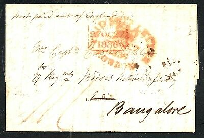 INDIA 1836 Stampless Entire From England - Bangalore