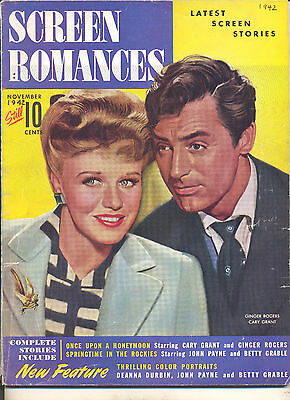 Movie Magazine -Screen Romances 11/42 Cary Grant & Ginger Rogers cover