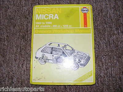 Nissan Micra K10 Haynes Manual 1983 To 1990 Gl Gs Gsx Colette