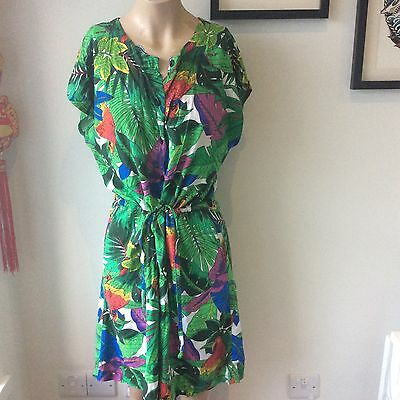 Vintage Parrot Print Jungle Leaf Safari Bird Playsuit Size 12 1980s 1990s Cute