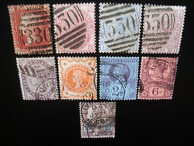 Great Britain-1864/92 Queen Victoria, 9 Stamps Used NH
