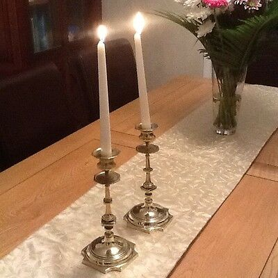 Antique Pair Of Heavy French Brass Farmhouse Candle Holders