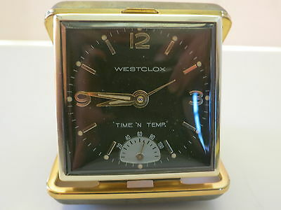 Vintage Westclox 'Time 'N Temp' Travel Alarm Clock With Temperature TESTED WORKS