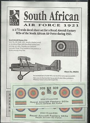 Blue Rider Decals BR302 SE.5a South African Air Force 1921 decals in 1:72 Scale