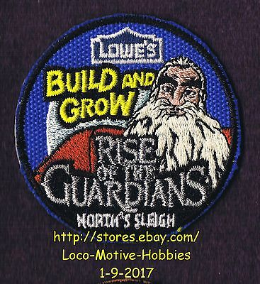 LMH PATCH Badge  2012 RISE GUARDIANS  North's Reindeer Sleigh  LOWES Build Grow