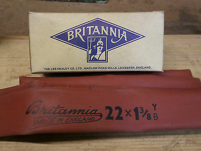 Vintage Rare Britannia Cycle Tube Inner Tube Red 22X1 3/8 Boxed Mint