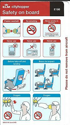 Safety Card - KLM Cityhopper - E190 - 2008 (S2251)