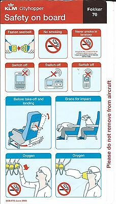 Safety Card - KLM Cityhopper - F70 - 2008 (S2252)