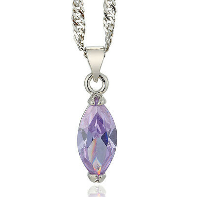 Wedding Jewelry Marquise Cut Tanzanite 18K White Gold Plated Pendant Necklace