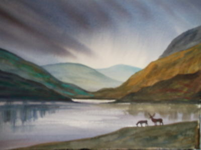 Original Watercolour Painting, Deer By The Loch, Scottish