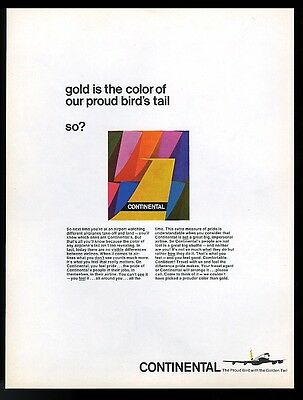 1966 Continental Airlines proud bird plane tail rainbow art vintage ad