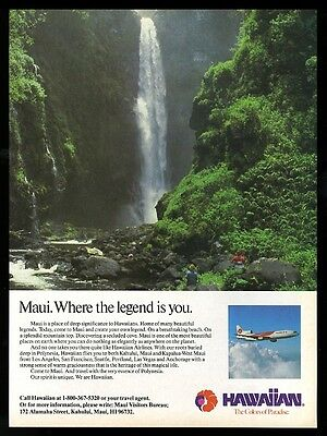 1981 Maui waterfall photo Hawaiian Airlines vintage print ad