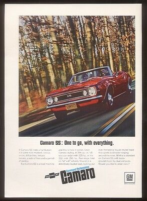 1967 Chevrolet Camaro convertible red car photo vintage print ad