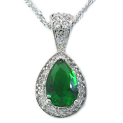 Lady Fashion Jewelry ~@28Mm Green Emerald Silver Tone Pendant Necklace Gift