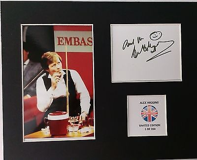 Limited Edition Alex Higgins Snooker Signed Mount Display