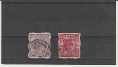 1902-13 EDWARD V11 2/6d AND 5/- GOOD USED SELECTION