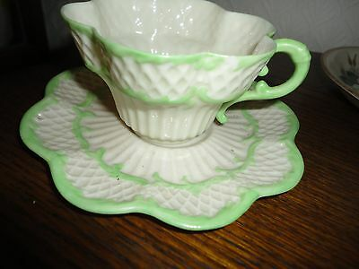 Belleek 2nd period painted Erne Cup & Saucer  MINT