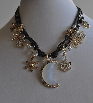 Kirks Folly  Seaview Moon Snowflake Necklace Gold  Tone *last One*