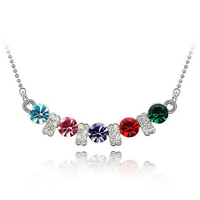 Fashion Jewelry Crystal White Gold Plated Red Ruby Pendant necklace