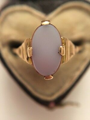 Stunning Victorian Antique Yellow Gold Agate Marquise Shaped Ring Ornate Shoulde