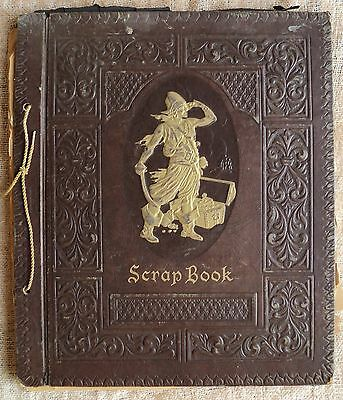 Vtg Large Embossed Scrap Book Pirate & Treasure Chest on Front - Xmas & Ephemera