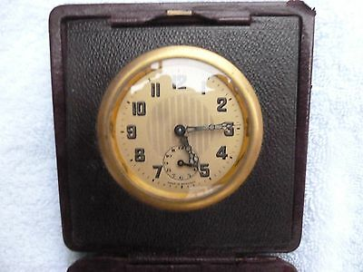 CLOCK / WATCH   Antique Brass German  Art Deco leather cased travelling CLOCK