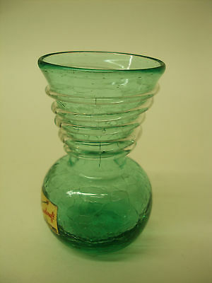Vintage Pilgrim Blown Handcraft Art Glass Vase Green Rigaree Swirl Crackle + Tag