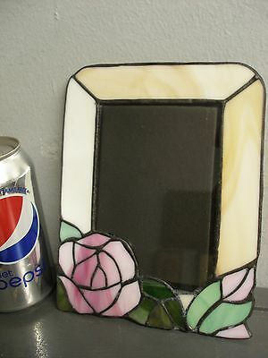 Vintage Stained Leaded Art Glass Picture Frame Pink Rose Easel Stand