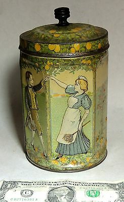 vtg Antique c1900 Coffee Tea Spice TIN Can Kitchen Canister Dancing Servants