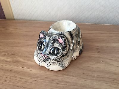 Unusual Babbacombe Pottery Tabby Cat Egg Cup
