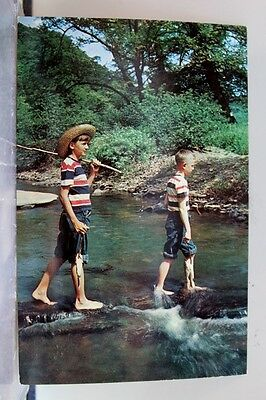 Scenic Me and Huck Finn River Fishing Postcard Old Vintage Card View Standard PC