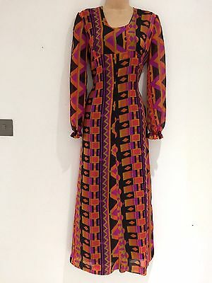 Vintage 70's Georgette Black Orange Purple Abstract Long Sleeve Maxi Dress 12