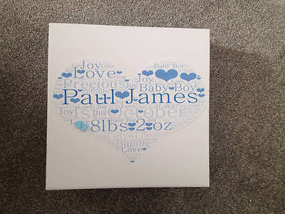 Gorgeous Large Personalised Baby Boy Wordart Memory Box With Handmade Baby Feet