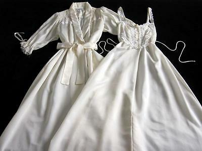 Vintage Christian Dior Lacy Satin Remarque Peignoir Set Long Gown + Robe S Ivory