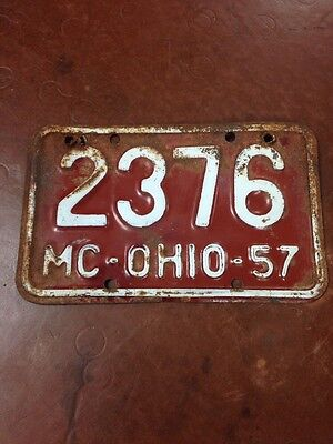 Vintage Original 1957 OHIO motorcycle License Plate! Harley- Panhead- Flathead