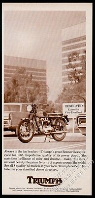 1965 Triumph Bonneville motorcycle photo vintage print ad