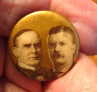 1900 W.McKinley & T R,Teddy Roosevelt Political, Presidential Campaign Pin