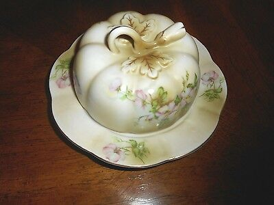 Nippon Hand Painted  Cheese Dish Butter Dish With Cover Exc.