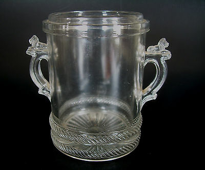 Antique Richards and Hartley Co EAPG Lion & Cable Glass Relish Jar Base No Lid