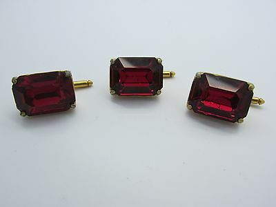 Vintage Large Ruby Red Rhinestone Gold Plated Tuxedo Buttons Stud Set Wedding